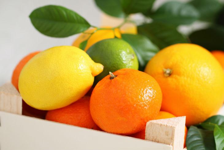 Frutas cítricas o verduras de color naranja