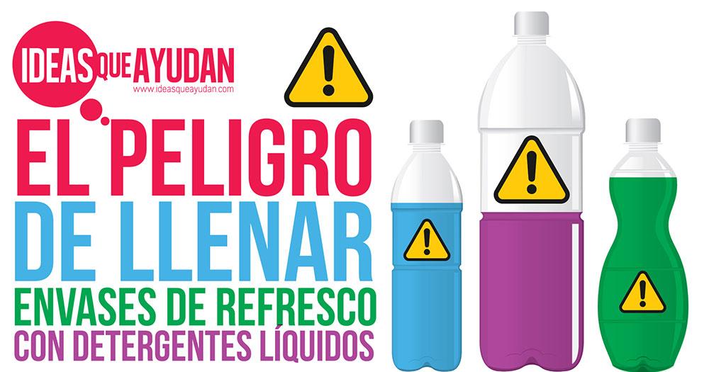llenar envases de refresco con detergentes